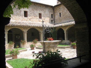 Photo by:  Sister Nancy A. Sell, OSF  Courtyard garden at Clare's Monastery in Assisi, Italy
